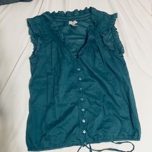 Dark green LOFT sleeveless blouse size s